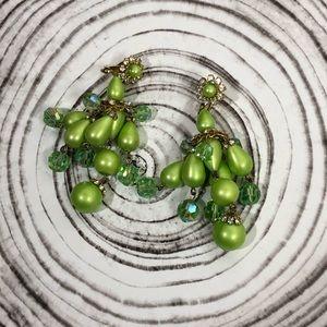 Green teardrop beaded earrings